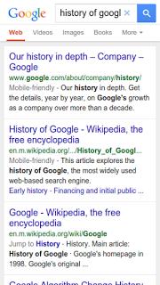 Zoek resultaten prestentatie van Google